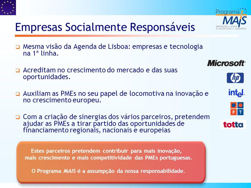 Áreas de actuação Com a designação Programa MAIS (Mediação e Apoio a Incentivos e Subsídios), esta iniciativa é agora alargada a Portugal, actuando nas seguintes áreas: Tecnologias de informação e comunicações; Inovação, Investigação & Desenvolvimento; Formação e Emprego; Criação de novas empresas