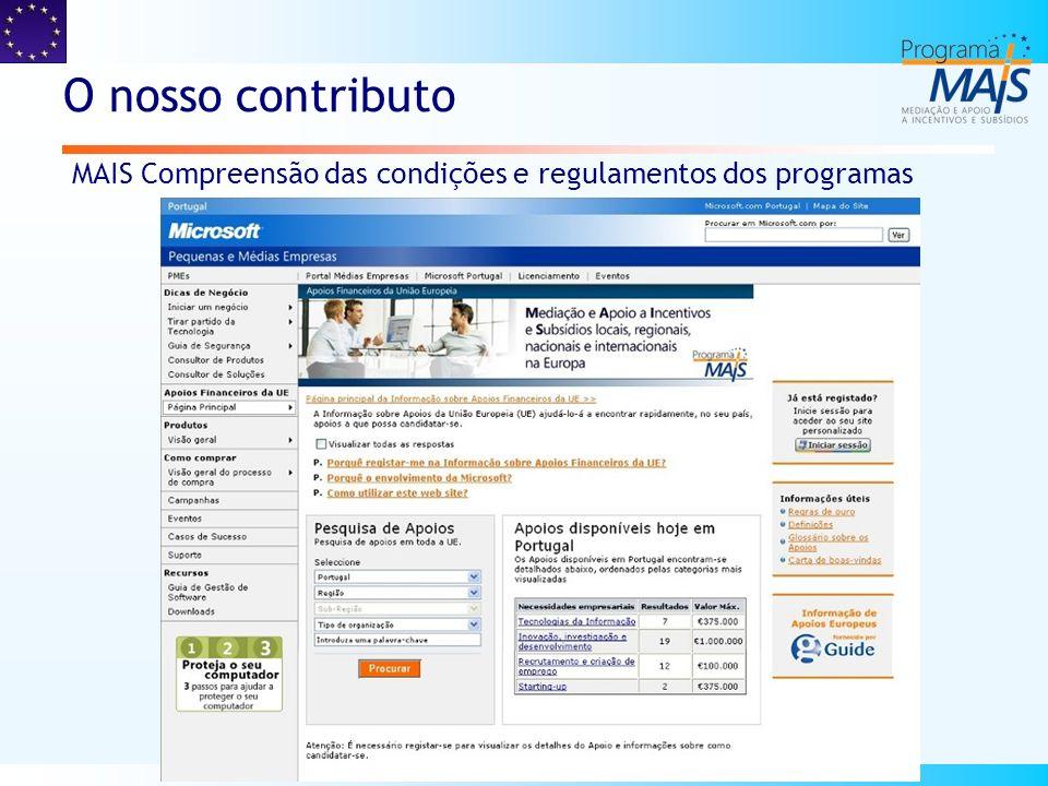 O nosso contributo MAIS Visibilidade das soluções de financiamento disponíveis através de um portal interactivo MAIS Apoio e Consultoria para elaboração de projectos e formalização de candidaturas