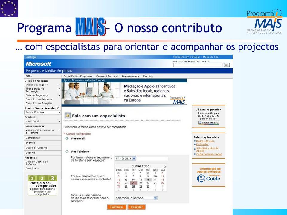 MAIS Visibilidade das soluções de financiamento disponíveis através de um portal interactivo MAIS Apoio e Consultoria para elaboração de projectos e formalização de candidaturas MAIS Flexibilidade financeira para apoio aos programas europeus, facilitando às empresas a realização dos seus investimentos