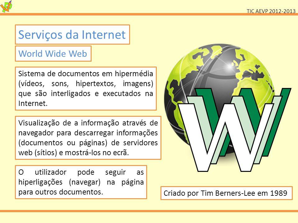TIC AEVP 2012-2013 Serviços da Internet World Wide Web O utilizador pode seguir as hiperligações (navegar) na página para outros documentos. Sistema d
