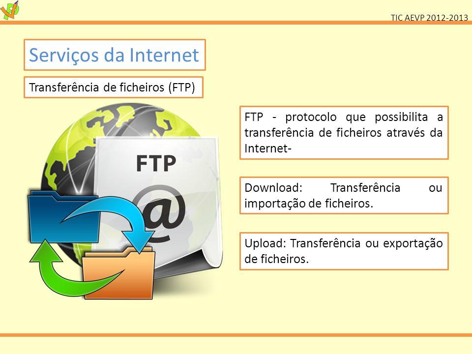 TIC AEVP 2012-2013 Serviços da Internet Transferência de ficheiros (FTP) FTP - protocolo que possibilita a transferência de ficheiros através da Inter