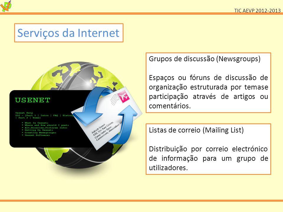 TIC AEVP 2012-2013 Serviços da Internet Grupos de discussão (Newsgroups) Espaços ou fóruns de discussão de organização estruturada por temase particip