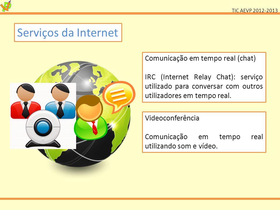 TIC AEVP 2012-2013 Serviços da Internet Comunicação em tempo real (chat) IRC (Internet Relay Chat): serviço utilizado para conversar com outros utiliz