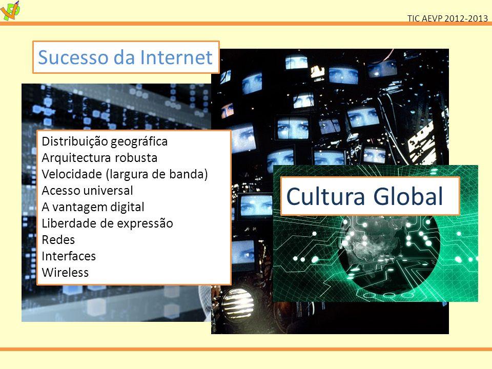 TIC AEVP 2012-2013 Sucesso da Internet Distribuição geográfica Arquitectura robusta Velocidade (largura de banda) Acesso universal A vantagem digital