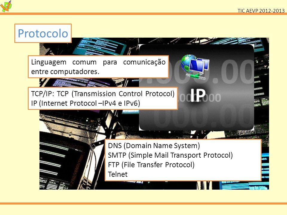 TIC AEVP 2012-2013 Protocolo Linguagem comum para comunicação entre computadores. TCP/IP: TCP (Transmission Control Protocol) IP (Internet Protocol –I