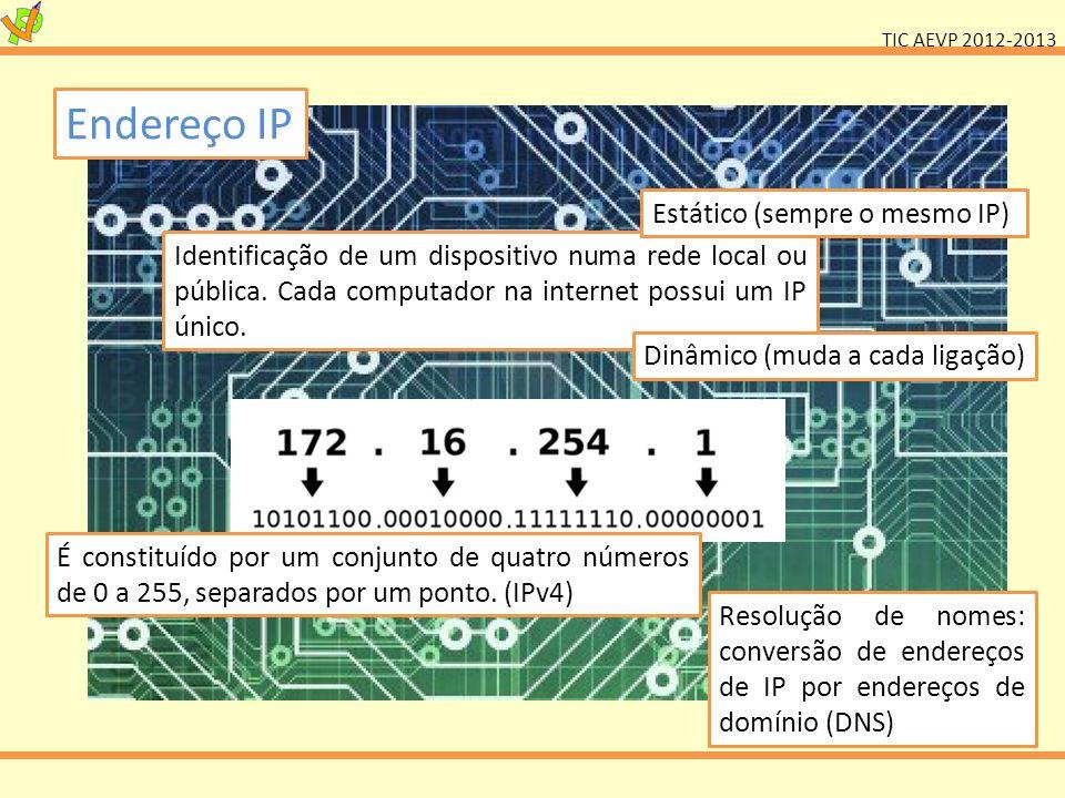 TIC AEVP 2012-2013 Endereço IP Identificação de um dispositivo numa rede local ou pública. Cada computador na internet possui um IP único. Estático (s