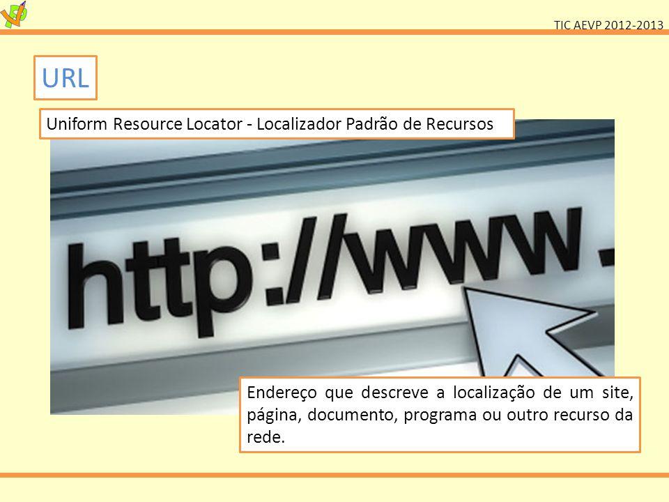 TIC AEVP 2012-2013 URL Endereço que descreve a localização de um site, página, documento, programa ou outro recurso da rede. Uniform Resource Locator