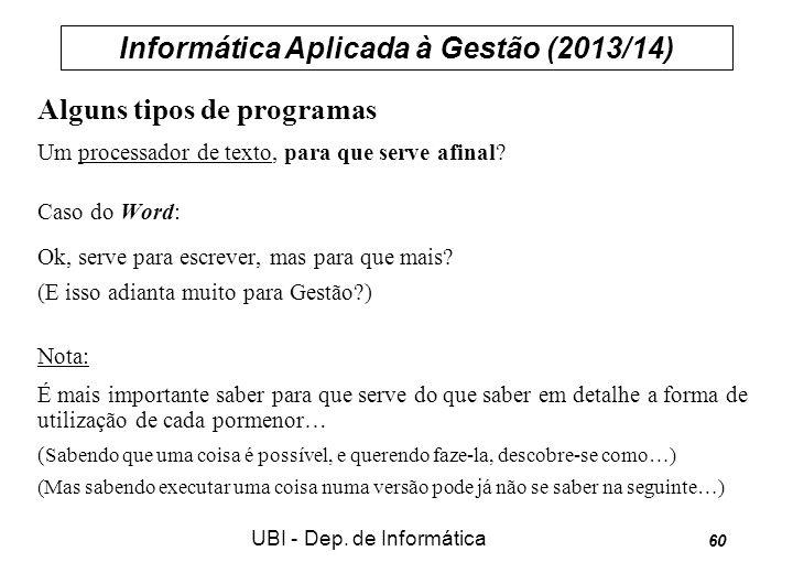 Informática Aplicada à Gestão (2013/14) UBI - Dep. de Informática 60 Alguns tipos de programas Um processador de texto, para que serve afinal? Caso do