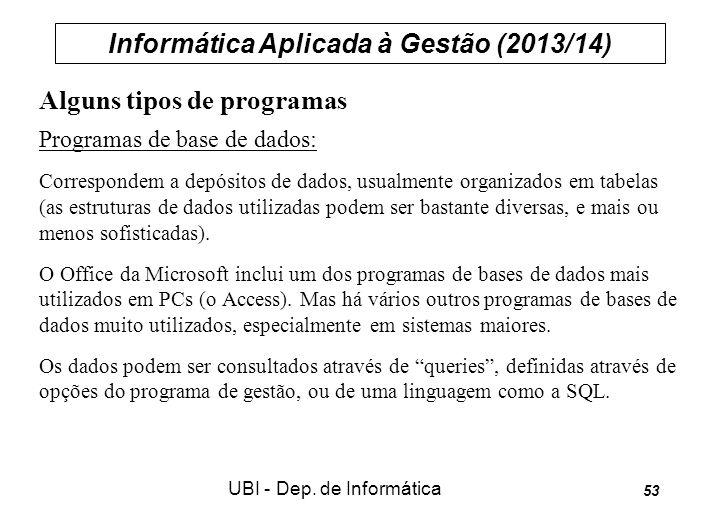 Informática Aplicada à Gestão (2013/14) UBI - Dep. de Informática 53 Alguns tipos de programas Programas de base de dados: Correspondem a depósitos de