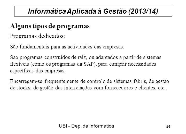 Informática Aplicada à Gestão (2013/14) UBI - Dep. de Informática 54 Alguns tipos de programas Programas dedicados: São fundamentais para as actividad