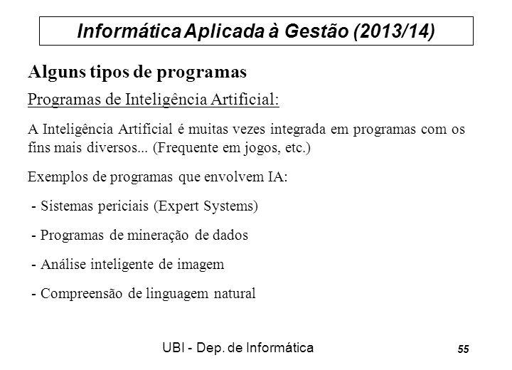 Informática Aplicada à Gestão (2013/14) UBI - Dep. de Informática 55 Alguns tipos de programas Programas de Inteligência Artificial: A Inteligência Ar