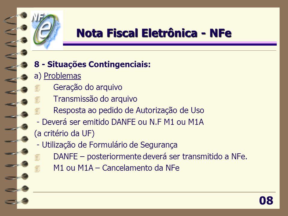 Nota Fiscal Eletrônica - NFe 8 - Situações Contingenciais: a) Problemas 4 Geração do arquivo 4 Transmissão do arquivo 4 Resposta ao pedido de Autoriza