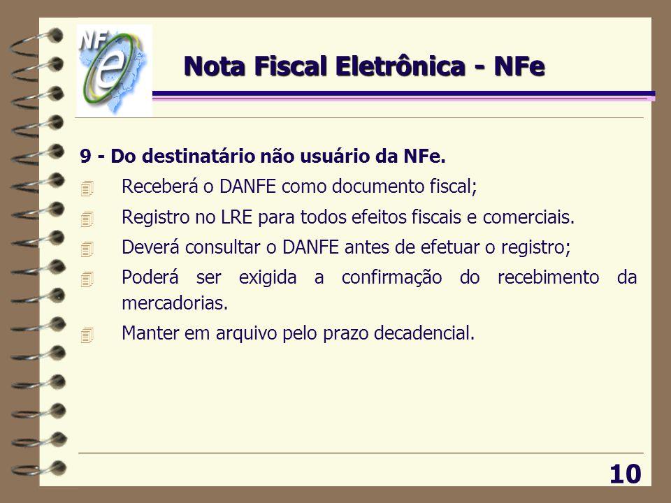 10 9 - Do destinatário não usuário da NFe. 4 Receberá o DANFE como documento fiscal; 4 Registro no LRE para todos efeitos fiscais e comerciais. 4 Deve