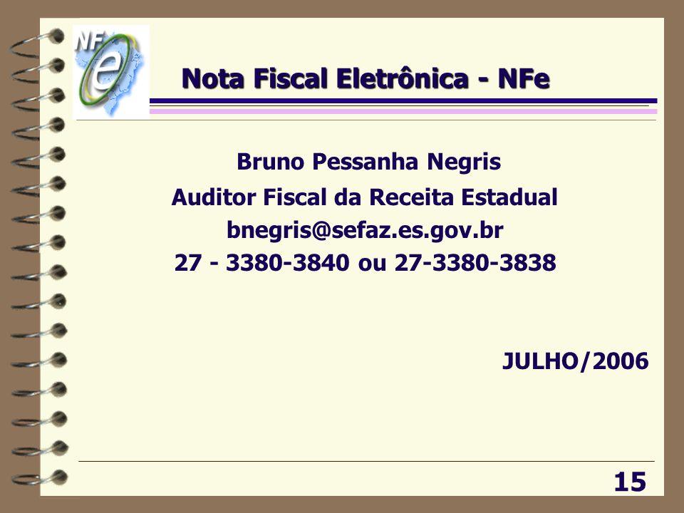 Nota Fiscal Eletrônica - NFe Bruno Pessanha Negris Auditor Fiscal da Receita Estadual bnegris@sefaz.es.gov.br 27 - 3380-3840 ou 27-3380-3838 JULHO/200