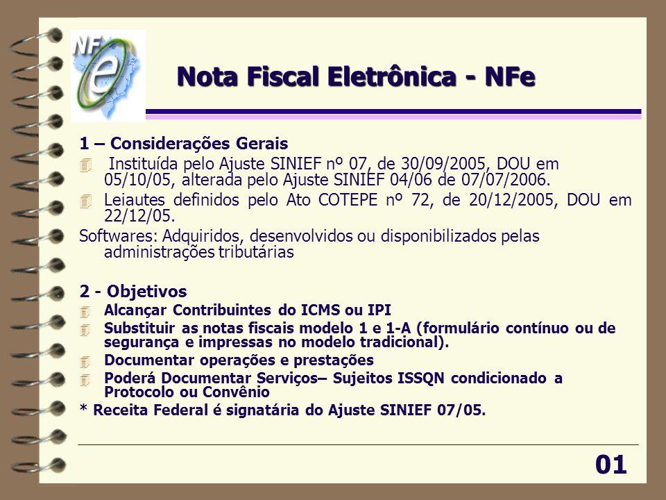 Nota Fiscal Eletrônica - NFe 1 – Considerações Gerais 4 Instituída pelo Ajuste SINIEF nº 07, de 30/09/2005, DOU em 05/10/05, alterada pelo Ajuste SINI