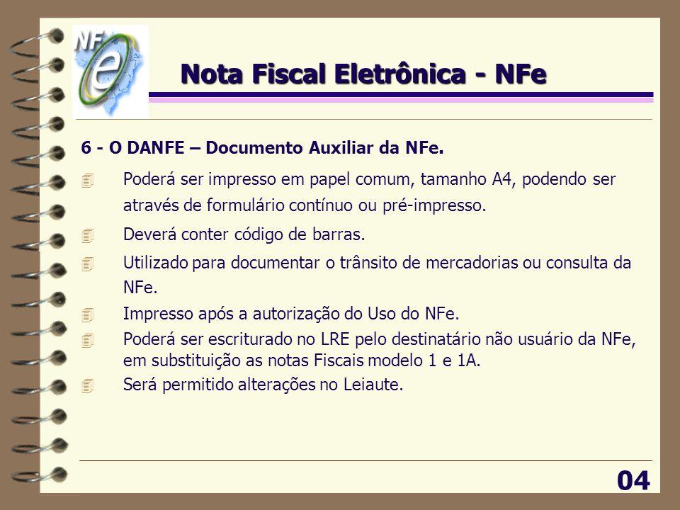 Nota Fiscal Eletrônica - NFe 04 6 - O DANFE – Documento Auxiliar da NFe. 4 Poderá ser impresso em papel comum, tamanho A4, podendo ser através de form