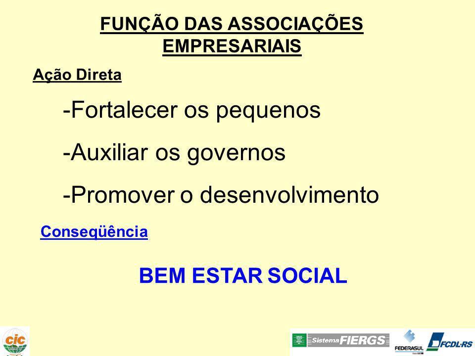 -Fortalecer os pequenos -Auxiliar os governos -Promover o desenvolvimento Ação Direta Conseqüência BEM ESTAR SOCIAL