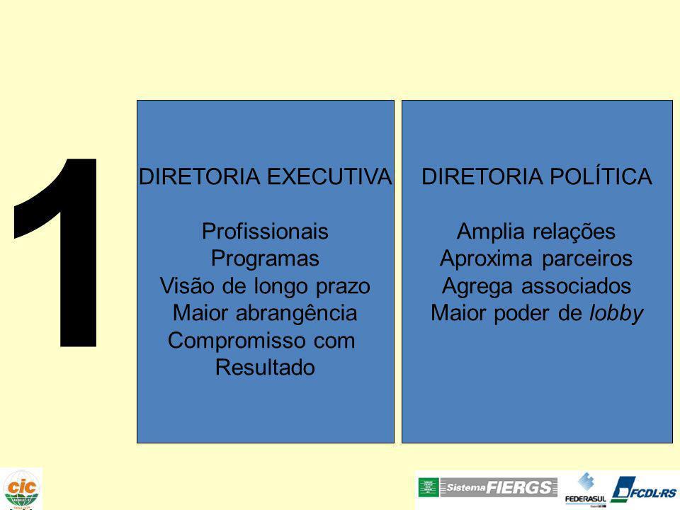 1 DIRETORIA EXECUTIVA Profissionais Programas Visão de longo prazo Maior abrangência Compromisso com Resultado DIRETORIA POLÍTICA Amplia relações Aproxima parceiros Agrega associados Maior poder de lobby