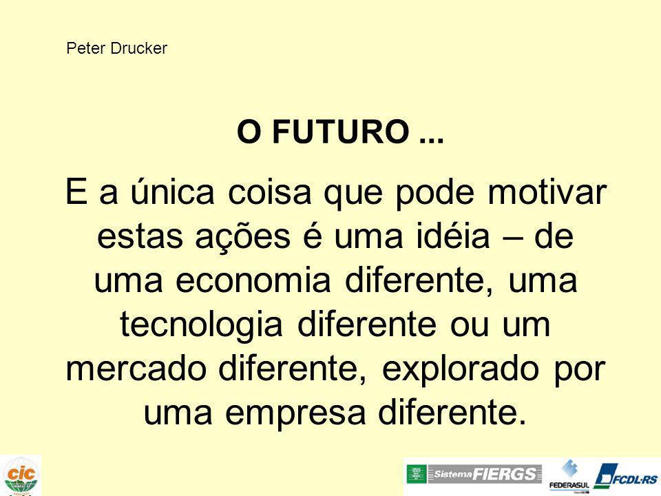 Peter Drucker O FUTURO... E a única coisa que pode motivar estas ações é uma idéia – de uma economia diferente, uma tecnologia diferente ou um mercado