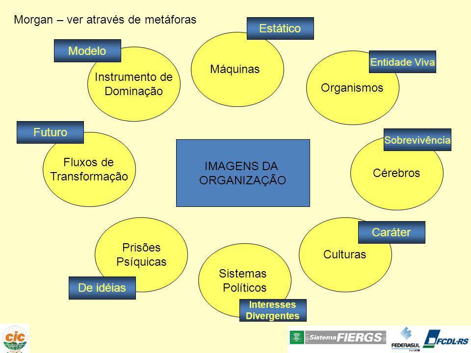 Máquinas Morgan – ver através de metáforas Estático A vida organizacional é freqüentemente rotinizada com a precisão exigida de um relógio.