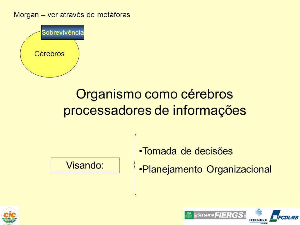 Morgan – ver através de metáforas Organismo como cérebros processadores de informações Visando: Cérebros Sobrevivência Tomada de decisões Planejamento