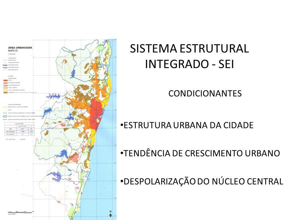 CONDICIONANTES ESTRUTURA URBANA DA CIDADE TENDÊNCIA DE CRESCIMENTO URBANO DESPOLARIZAÇÃO DO NÚCLEO CENTRAL SISTEMA ESTRUTURAL INTEGRADO - SEI