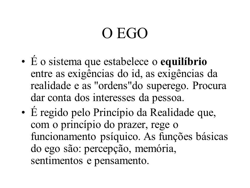 O EGO É o sistema que estabelece o equilíbrio entre as exigências do id, as exigências da realidade e as ordens do superego.