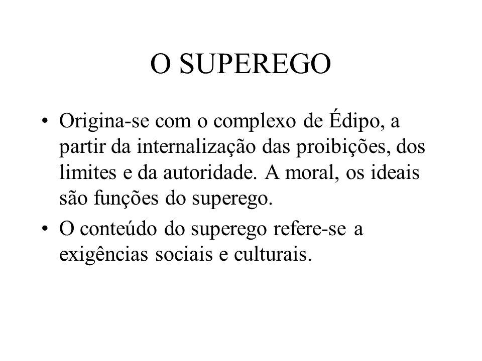 O SUPEREGO Origina-se com o complexo de Édipo, a partir da internalização das proibições, dos limites e da autoridade. A moral, os ideais são funções