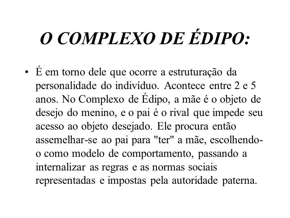 O COMPLEXO DE ÉDIPO: É em torno dele que ocorre a estruturação da personalidade do indivíduo. Acontece entre 2 e 5 anos. No Complexo de Édipo, a mãe é