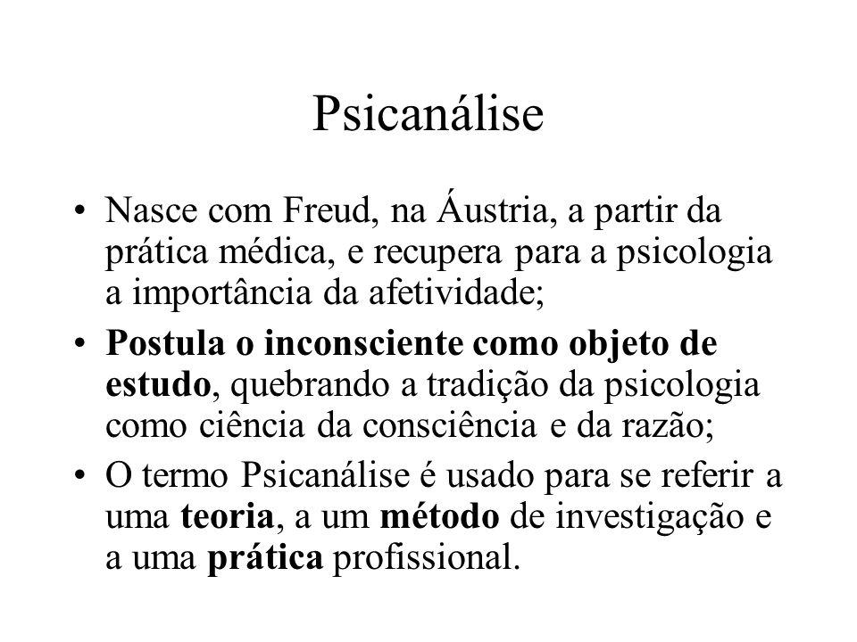 Psicanálise Nasce com Freud, na Áustria, a partir da prática médica, e recupera para a psicologia a importância da afetividade; Postula o inconsciente