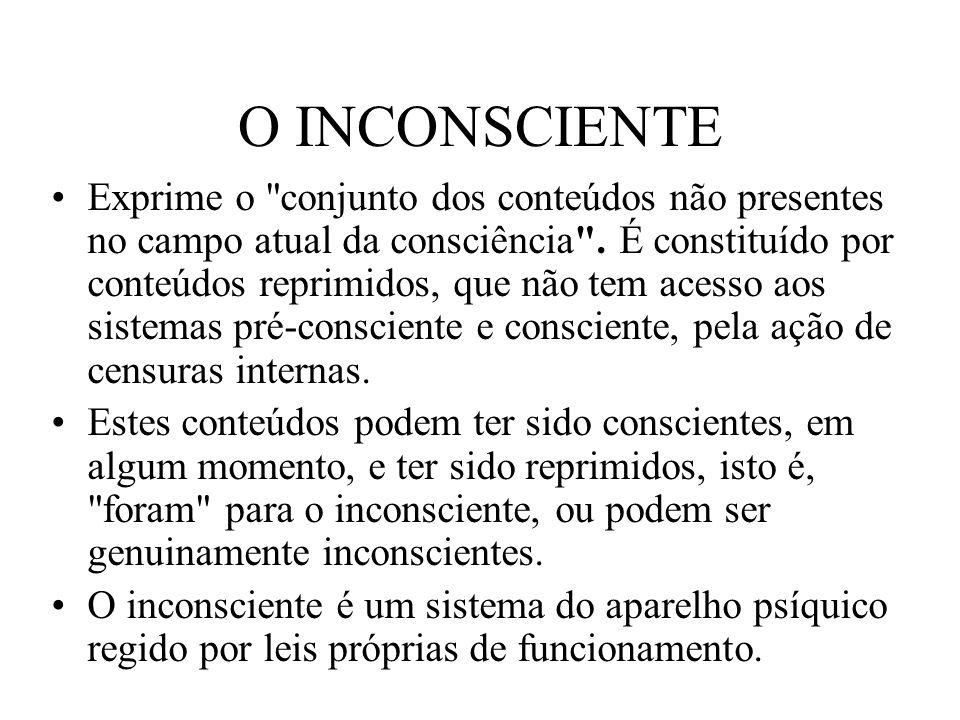 O INCONSCIENTE Exprime o conjunto dos conteúdos não presentes no campo atual da consciência .