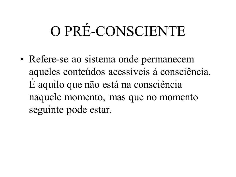 O PRÉ-CONSCIENTE Refere-se ao sistema onde permanecem aqueles conteúdos acessíveis à consciência.