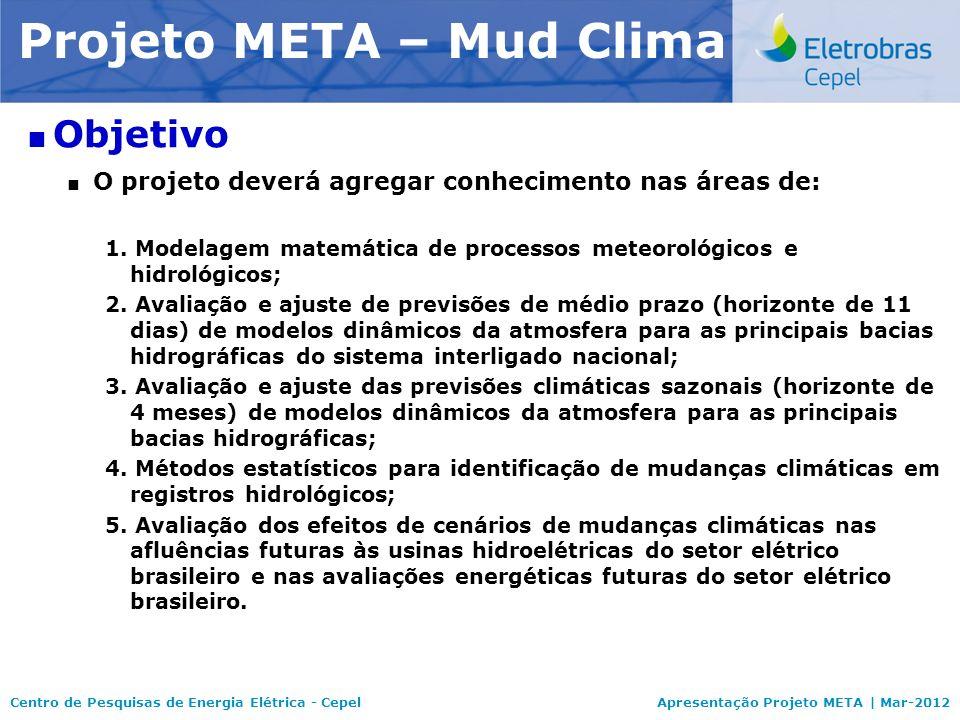 Centro de Pesquisas de Energia Elétrica - CepelApresentação Projeto META | Mar-2012 Modelo NEWAVE Objetivo O projeto deverá agregar conhecimento nas á