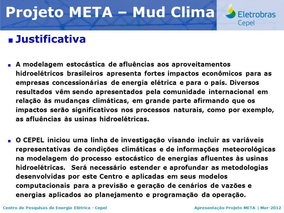 Centro de Pesquisas de Energia Elétrica - CepelApresentação Projeto META | Mar-2012 Modelo NEWAVE Justificativa A modelagem estocástica de afluências