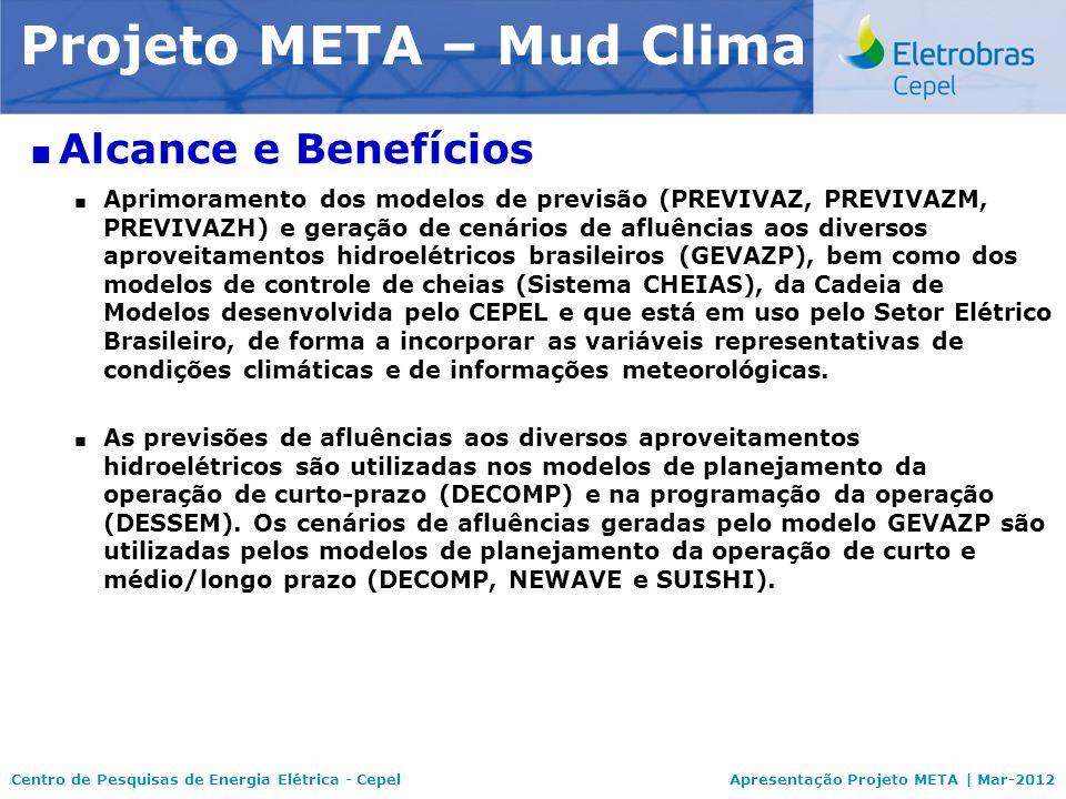 Centro de Pesquisas de Energia Elétrica - CepelApresentação Projeto META | Mar-2012 Modelo NEWAVE Alcance e Benefícios Aprimoramento dos modelos de pr