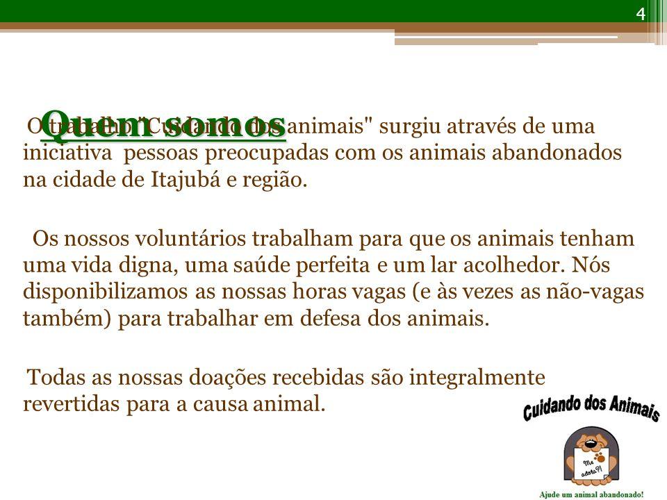 Quem somos O trabalho Cuidando dos animais surgiu através de uma iniciativa pessoas preocupadas com os animais abandonados na cidade de Itajubá e região.