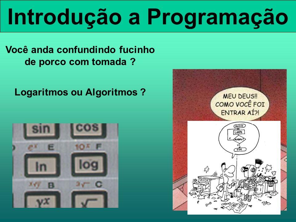 Introdução a Programação Você anda confundindo fucinho de porco com tomada ? Logaritmos ou Algoritmos ?