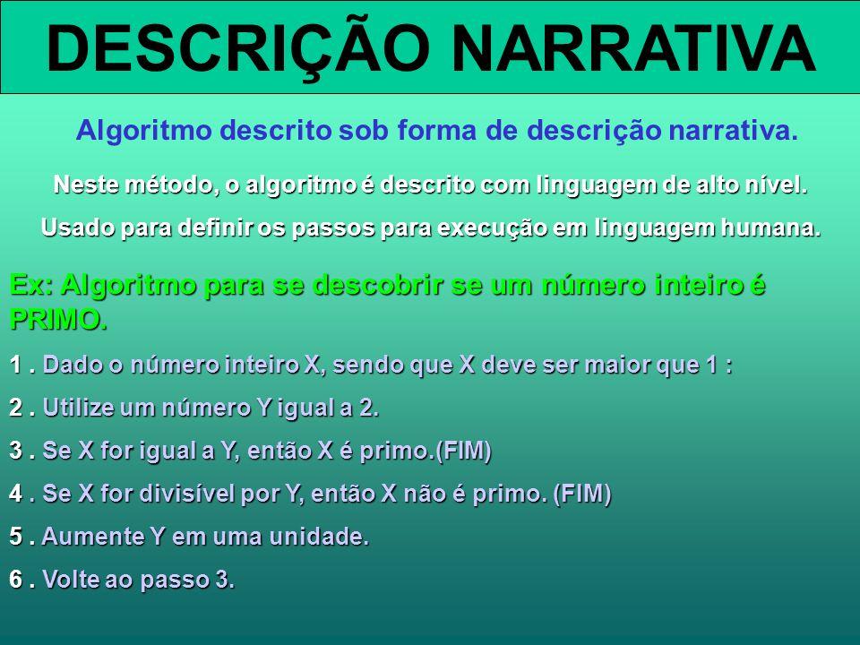 DESCRIÇÃO NARRATIVA Algoritmo descrito sob forma de descrição narrativa. Neste método, o algoritmo é descrito com linguagem de alto nível. Usado para