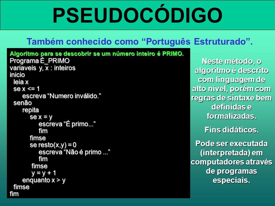 PSEUDOCÓDIGO Também conhecido como Português Estruturado. Neste método, o algoritmo é descrito com linguagem de alto nível, porém com regras de sintax