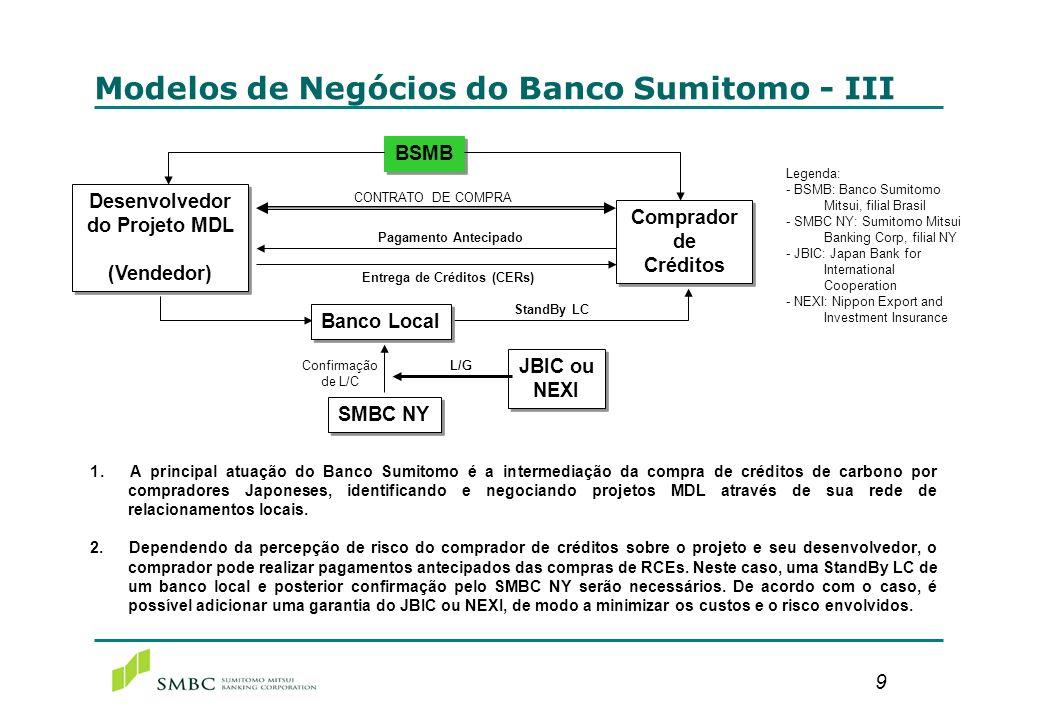 9 1. A principal atuação do Banco Sumitomo é a intermediação da compra de créditos de carbono por compradores Japoneses, identificando e negociando pr