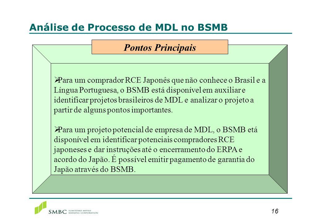 16 Análise de Processo de MDL no BSMB Para um comprador RCE Japonês que não conhece o Brasil e a Língua Portuguesa, o BSMB está disponível em auxiliar