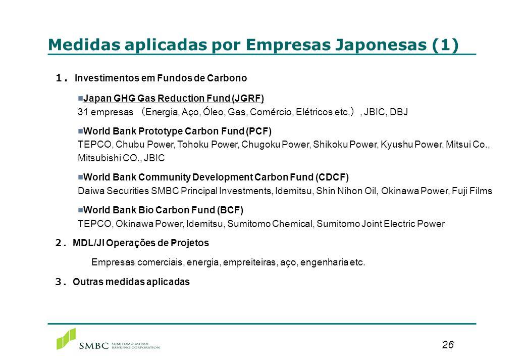26 Medidas aplicadas por Empresas Japonesas (1) Investimentos em Fundos de Carbono Japan GHG Gas Reduction Fund (JGRF) 31 empresas Energia, Aço, Óleo,