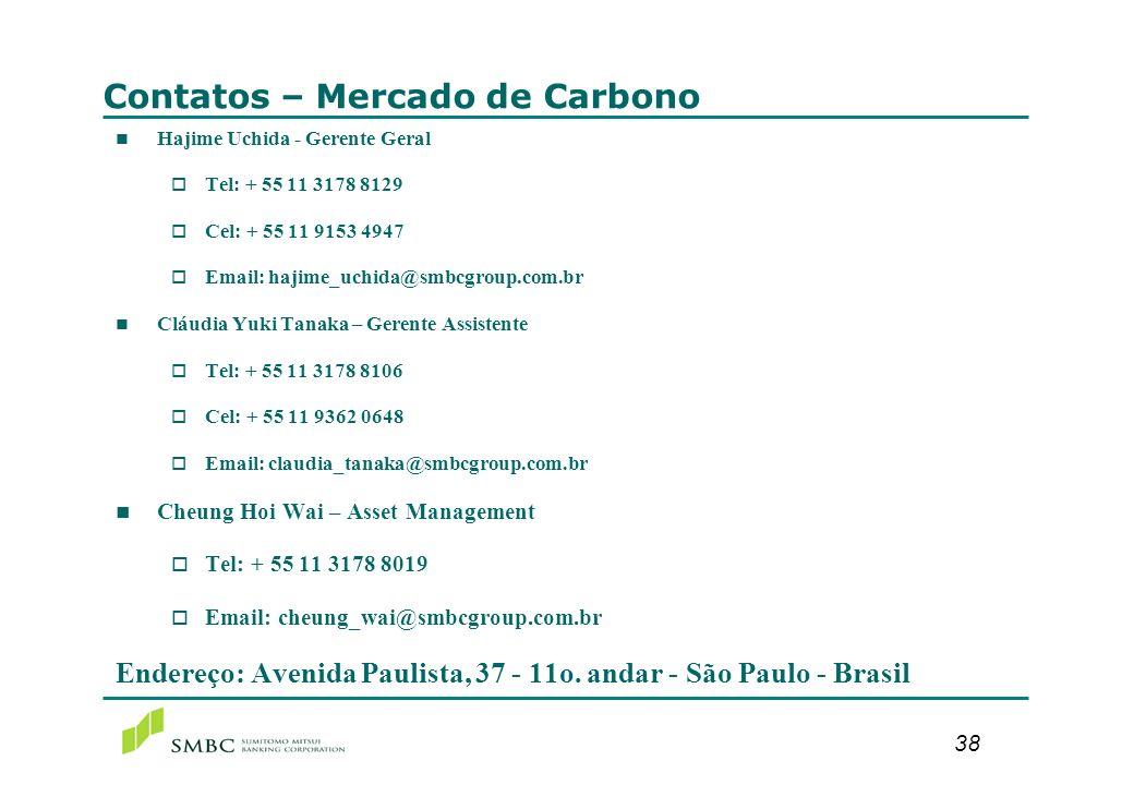 38 Contatos – Mercado de Carbono n Hajime Uchida - Gerente Geral o Tel: + 55 11 3178 8129 o Cel: + 55 11 9153 4947 o Email: hajime_uchida@smbcgroup.co