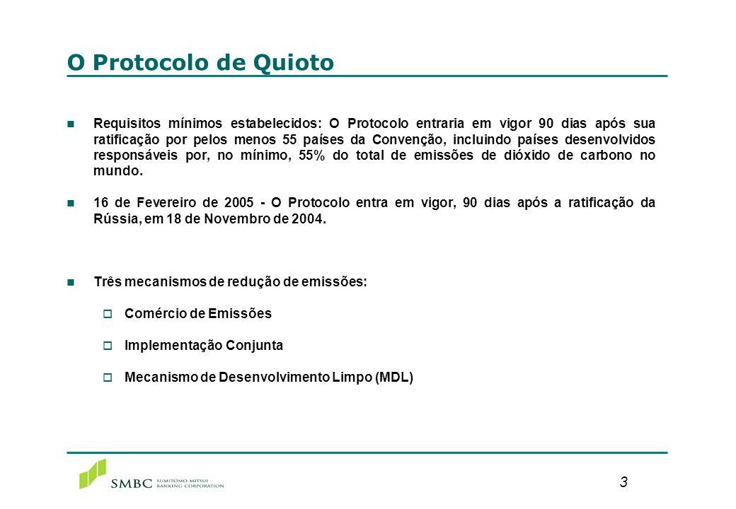 3 O Protocolo de Quioto n Requisitos mínimos estabelecidos: O Protocolo entraria em vigor 90 dias após sua ratificação por pelos menos 55 países da Co