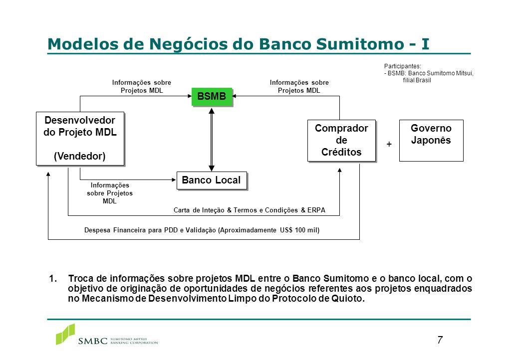 7 1. Troca de informações sobre projetos MDL entre o Banco Sumitomo e o banco local, com o objetivo de originação de oportunidades de negócios referen