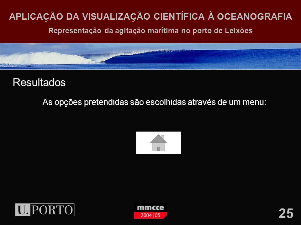25 APLICAÇÃO DA VISUALIZAÇÃO CIENTÍFICA À OCEANOGRAFIA Representação da agitação marítima no porto de Leixões Resultados As opções pretendidas são escolhidas através de um menu: