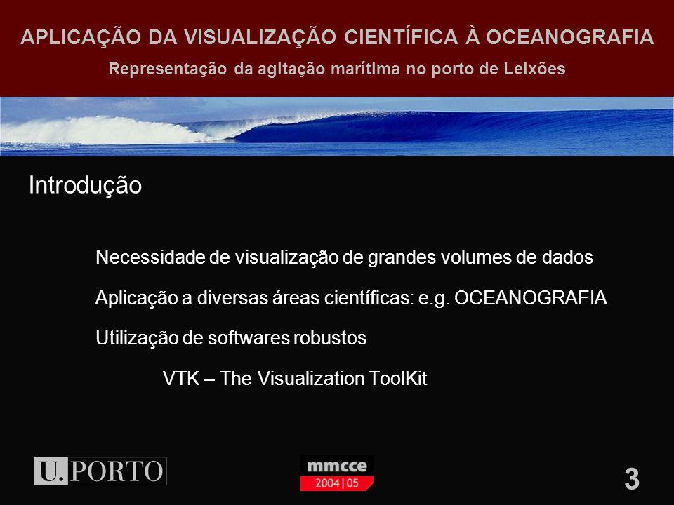 3 APLICAÇÃO DA VISUALIZAÇÃO CIENTÍFICA À OCEANOGRAFIA Representação da agitação marítima no porto de Leixões Introdução Necessidade de visualização de grandes volumes de dados Aplicação a diversas áreas científicas: e.g.