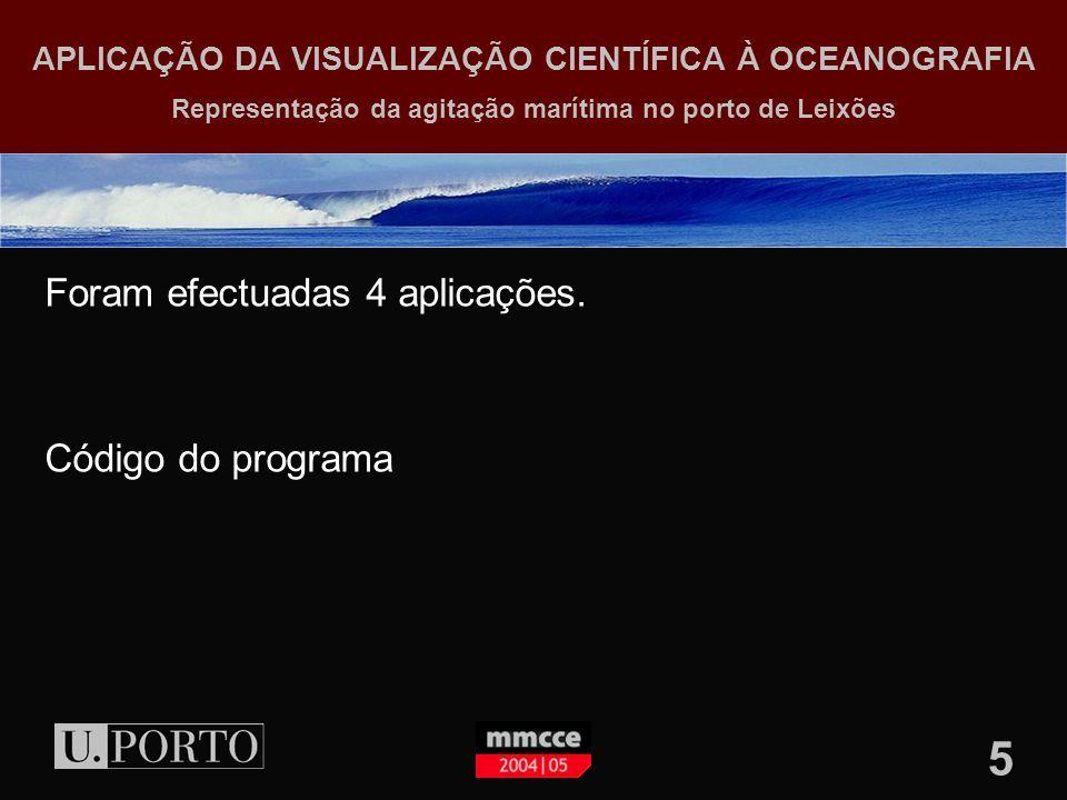 5 APLICAÇÃO DA VISUALIZAÇÃO CIENTÍFICA À OCEANOGRAFIA Representação da agitação marítima no porto de Leixões Foram efectuadas 4 aplicações.