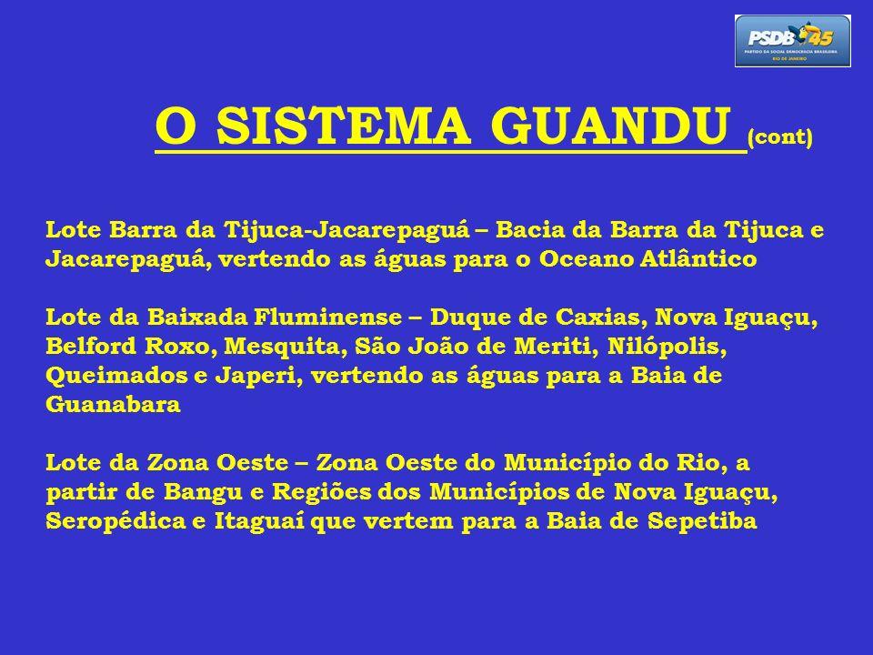 O SISTEMA GUANDU (cont) Lote Barra da Tijuca-Jacarepaguá – Bacia da Barra da Tijuca e Jacarepaguá, vertendo as águas para o Oceano Atlântico Lote da B