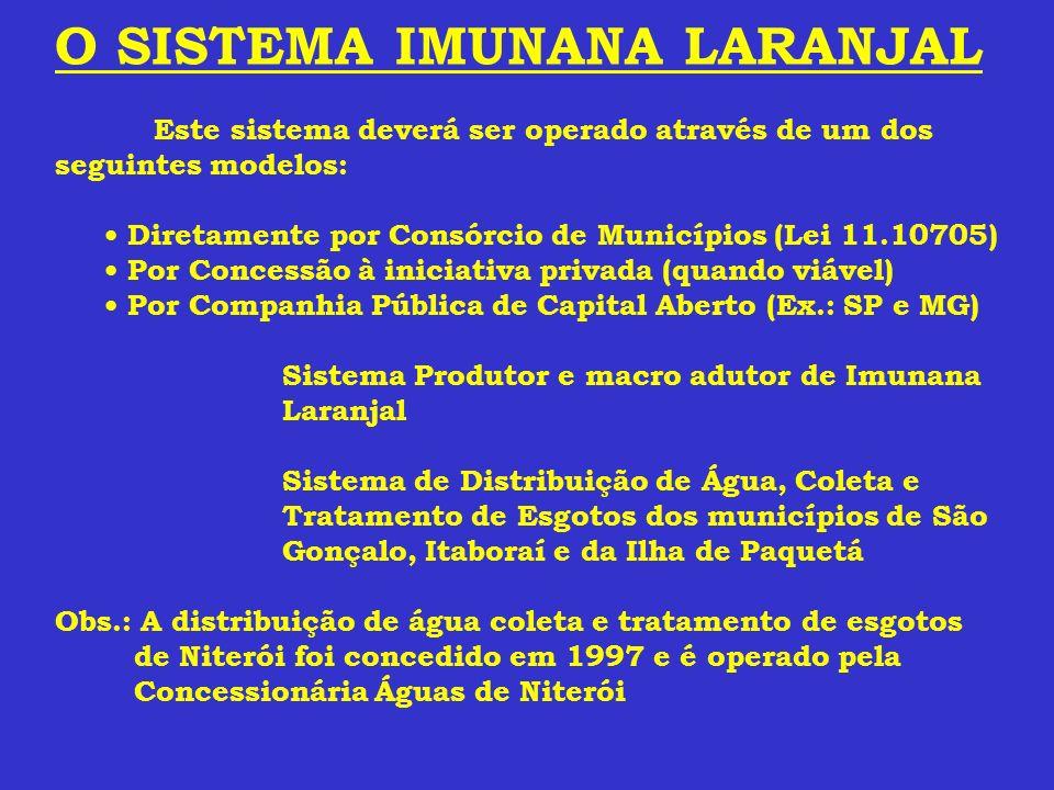 O SISTEMA IMUNANA LARANJAL Este sistema deverá ser operado através de um dos seguintes modelos: Diretamente por Consórcio de Municípios (Lei 11.10705)